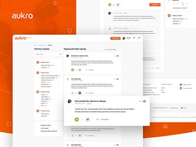Aukro community forum - desktop version ecommerce orange aukro discussion chat community ui white graphics clean website design web