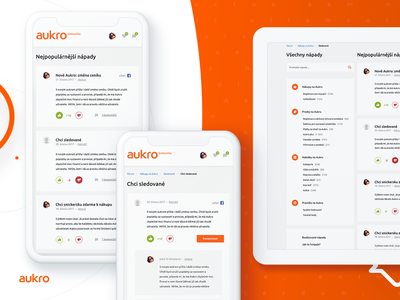 Aukro community mobile version white website web grapefruit orange graphics ecommerce discussion design community clean chat aukro