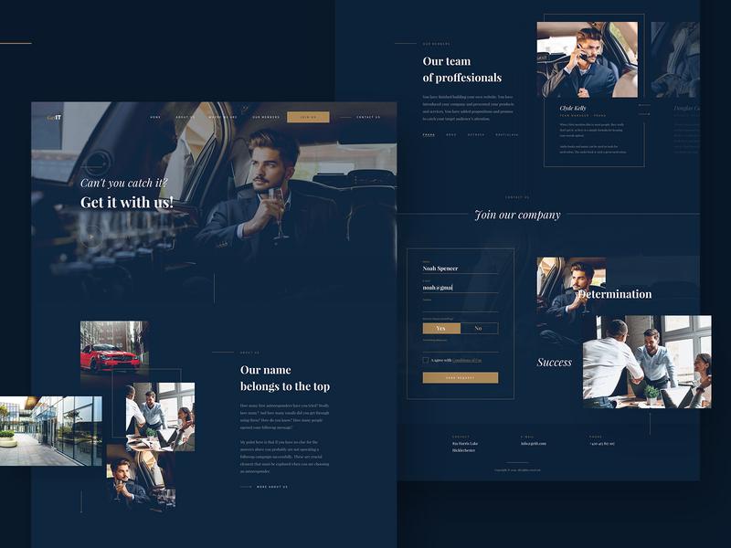 Business Company website blue rich money luxury gold dark brand business desktop clean website web ux ui design