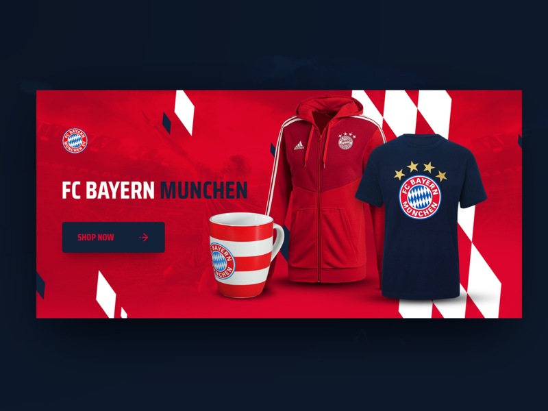 Showcase FC Bayern Munchen red cup shop hoodie shirt ads banner ad bayern munich bayern munich football club football soccer advertising graphics website design banner showcase