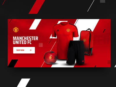 Showcase Manchester United FC banner ball graphics website design advertising devils black dark soccer football football club united manchester shirt jersey sport shorts shop red