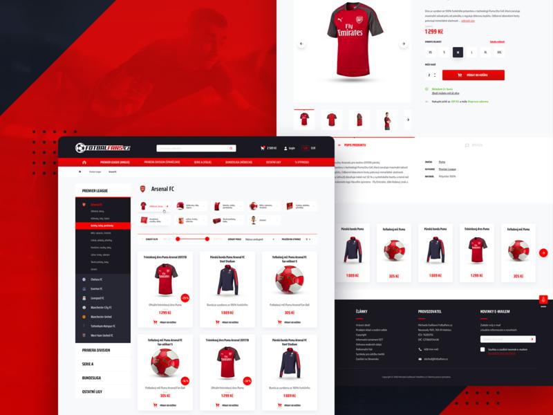 Football fanshop website product white red jersey sport minimal ux graphics ui clean web website design football club soccer football