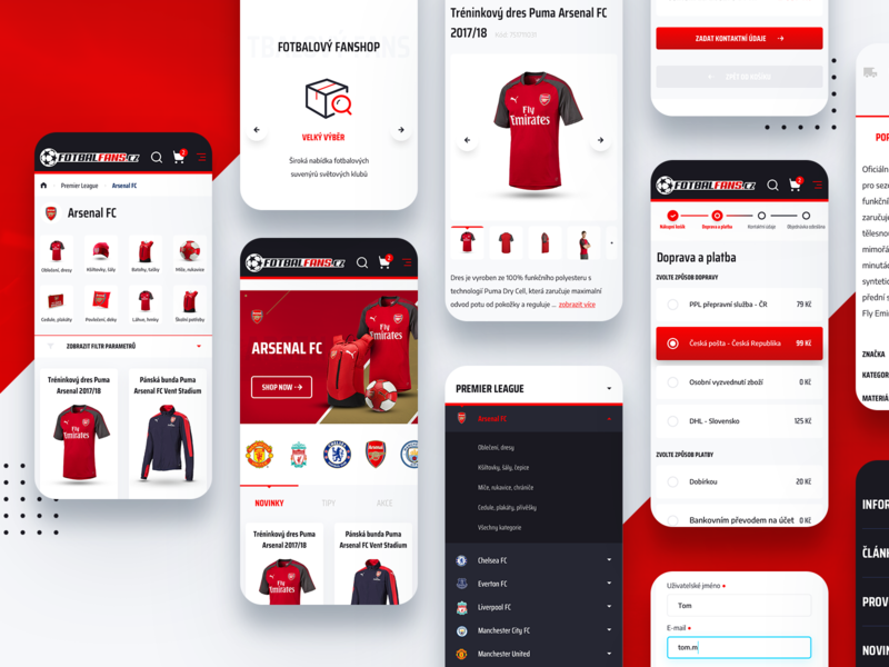 Football fanshop responsive minimal sport red responsive responsive design mobile design mobile ui soccer football product ux white ui graphics clean web website design