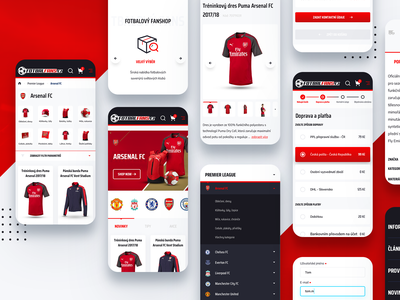 Football fanshop responsive minimal sport red responsive responsive design mobile design mobile ui soccer football product ux white ui graphics clean web website design