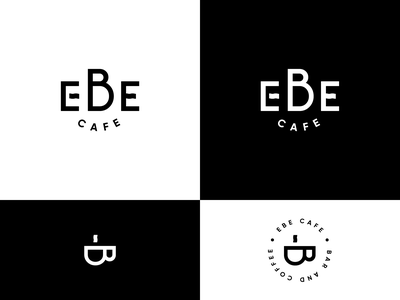Ebe cafe logo concept e letter b letter simple simple logo graphics white black café ebe logomark coffee shop coffee cafe cafe logo typography branding vector logo clean design
