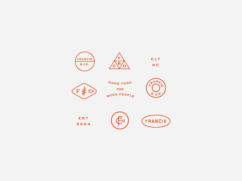Francie & Co supporting elements monogram design icon design icon subbrand submark lockup monogram restaurant branding typography branding