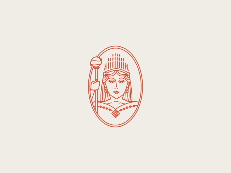 Queen Charlotte portrait badge charlottenc queen monoline sketch illustration
