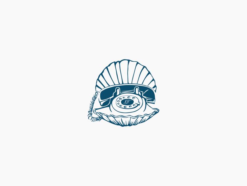 Fin & Fino Shellphone nautical shellphone charlottenc design sketch restaurant branding icon design submark subbrand icon illustration branding