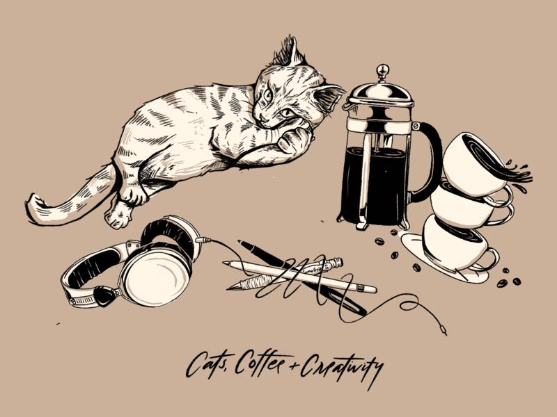 Cats, Coffee & Creativity charlottenc icon icon design lockup monogram vector logo submark vintage typography sketch monogram design subbrand branding design illustration