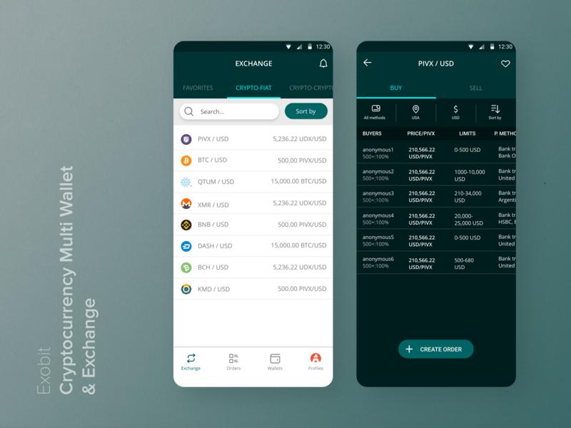 Exobit Cryptocurrency Exchange navigation bar wallet app app wallet uiux ux uidesign ui interface design