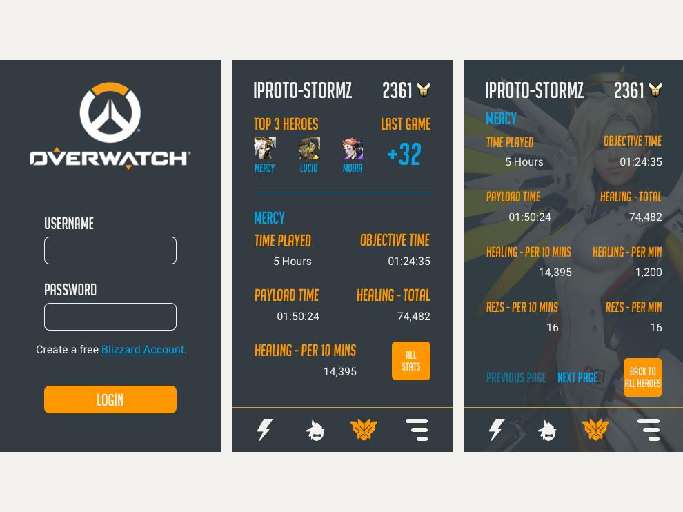 Overwatch Statistic Tracker App by Craig Donovan on Dribbble