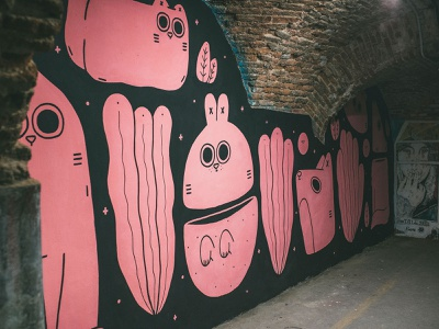 A wall in Tabacalera Madrid characters character design illustration streetart mural