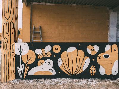 Participative Mural - Molinolab streetart characters character design illustration mural