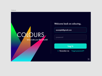 Daily UI Challenge - COLOURS web application log in