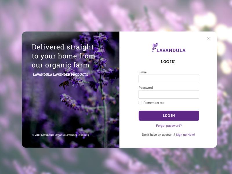 Login form dailyui ui ux web design branding login ui lavender web login form