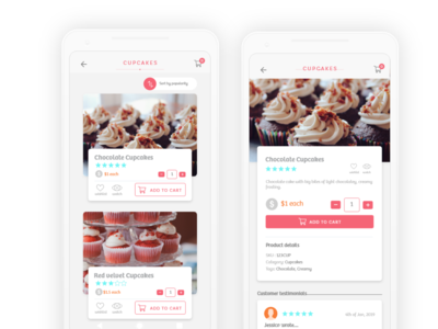 A mobile app prototype for sweets/cakes brand