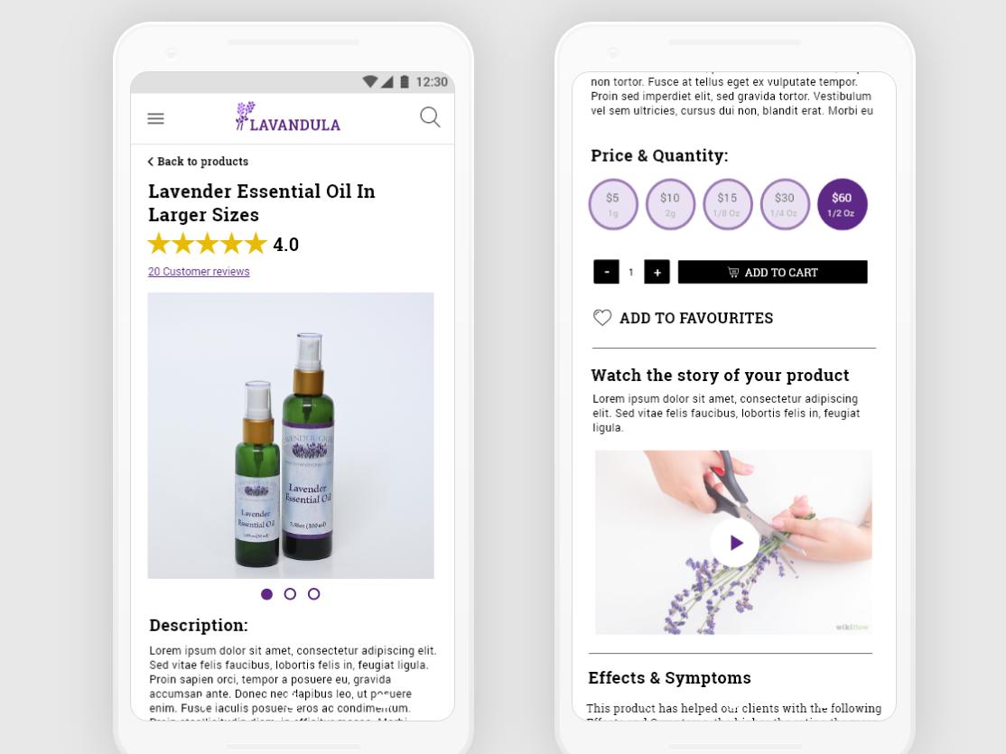 Lavandula - Point of Sale - mobile view point of sale progressive web app branding mobile applications uiux