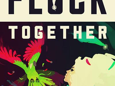 Flock Together illustration typography parrots