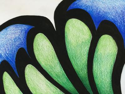 Doodle heart acrylic pen colored pencil prismacolor