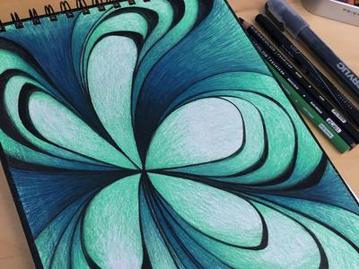 Topographical Flower sketchbook acrylic pen colored pencils prismacolor