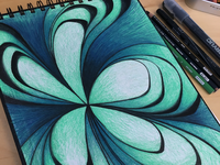 Topographical Flower sketchbook acrylic pen colored pencils prismacolor