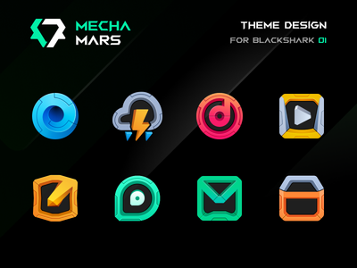 BLACKSHARK · MECHA MARS cyberpunk figma design launcher icon miui blackshark icon theme