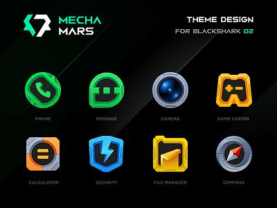 BLACKSHARK · MECHA MARS cyberpunk compass file game camera message phone launcher icon figma icon blackshark theme