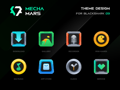 BLACKSHARK · MECHA MARS icon service clock appstore music game recorder gallery download cyberpunk mecha theme