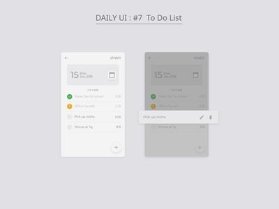 Daily UI : #7 To Do List