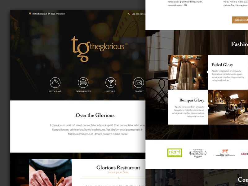 Glorious homepage restaurant michelinstar chique design ui ux