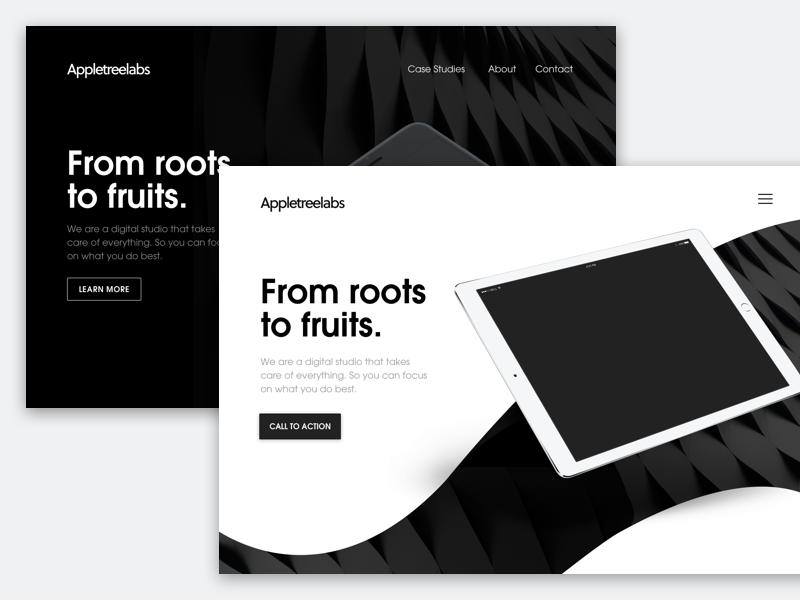 Hero Exploration ipad typography contrast white black clean minimal ui homepage landing design