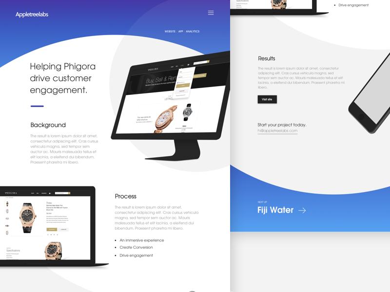 Work Detail Page layout ui macbook devices rounded blue gradient portfolio work design