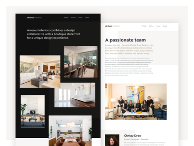 Arveaux Interiors Website web website interior design real contrast photography ui live beautiful