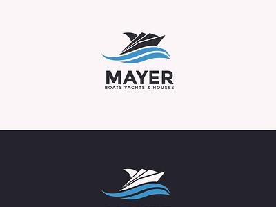 mayer boats yachts logo design water sea logotype vector brand identity logo design business modern logo boat yacht
