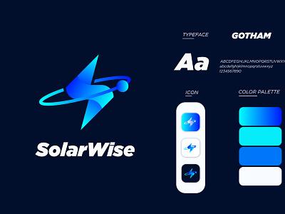 solar wise brand logo brand guide s letter logo solar system logotype brand identity logo design branding business modern