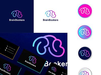 BrainBookers logo design logotype b logo b letter book brain brand identity branding logo design logo business modern