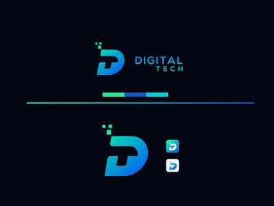 Digital Tech Logo Design digital tech logotype logomark brand identity logo design logo business modern