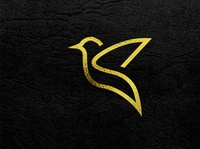 Minimalist luxury golden bird logo design