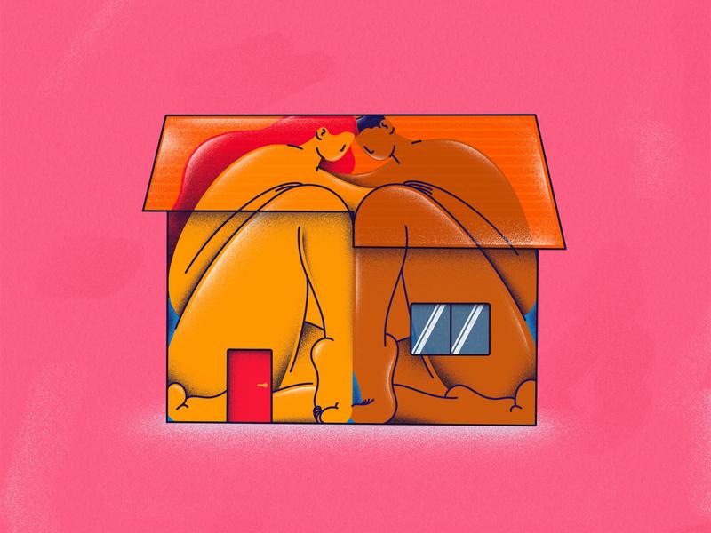 #StayTheFuckHome human apple pencil ipad pro illustration procreate relationship socialdistancing quarantine lover loneliness couple house home stayhome