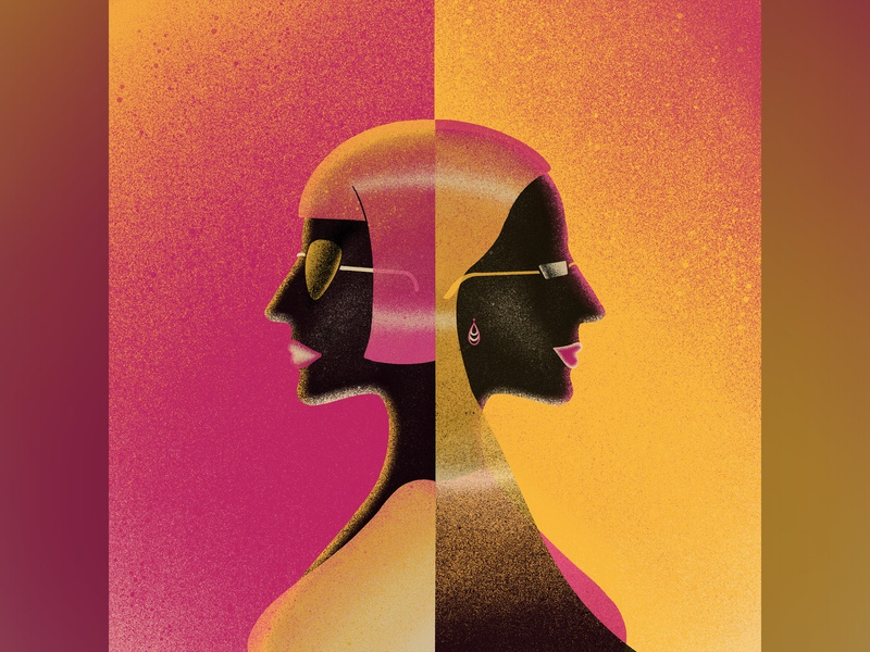 Two Sides negative side human apple pencil procreate ipad pro illustration opposite portrait texture woman
