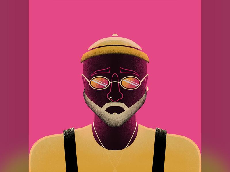 Hype texture human apple pencil procreate ipad pro illustration ring beard glasses men man hype style