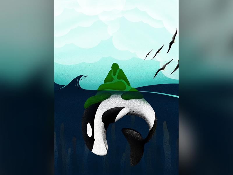 Point Of View fish sky mountain ocean bird natureboy whale animals apple pencil procreate ipad pro illustration