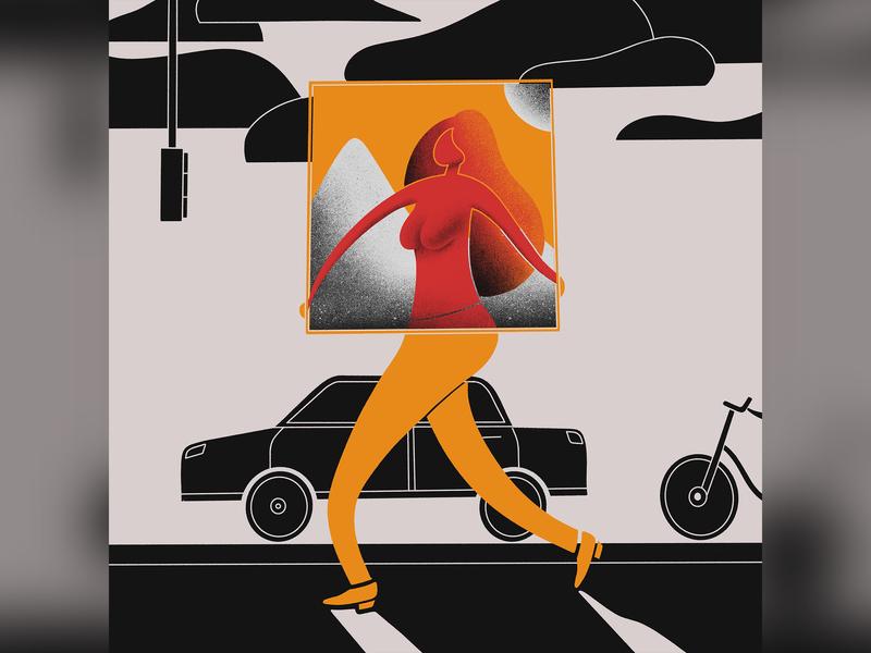 Frame walking bike car street dimension frame human apple pencil procreate ipad pro illustration