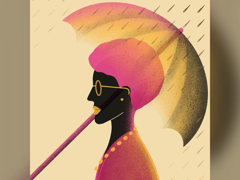 Umbrella transparency raining rain umbrellas human apple pencil procreate ipad pro illustration