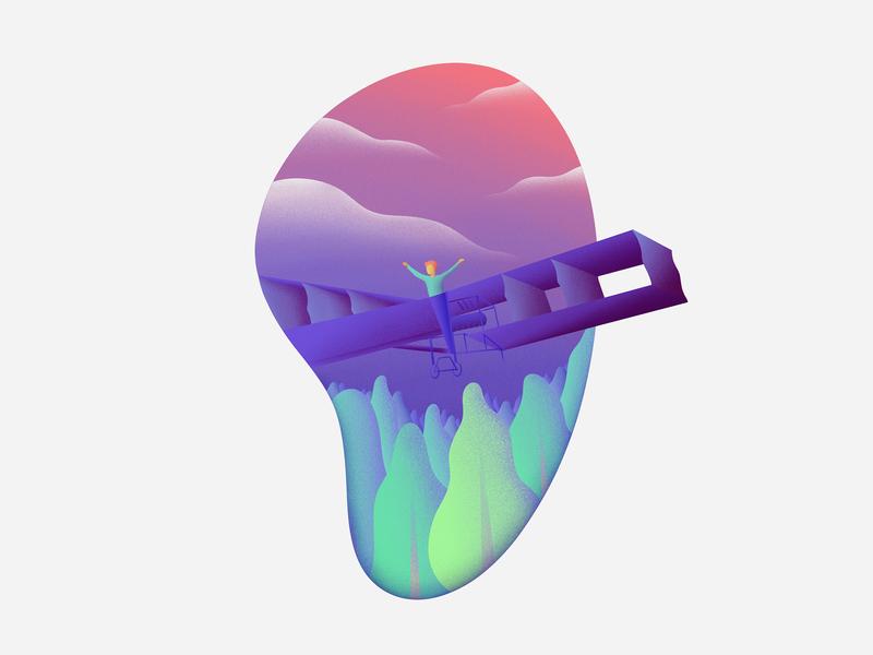 Fly High dumont santos gradient cloud high fly airplane sky human apple pencil procreate ipad pro illustration