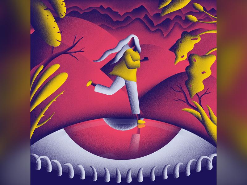 Fear fear leaf mountain eye run running sky human apple pencil procreate ipad pro illustration