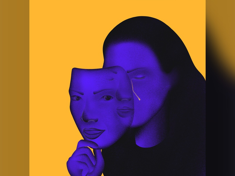 Living a lie fear emotion sad mask cry lie woman human apple pencil procreate ipad pro illustration
