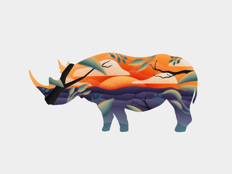 Protect the Rhinos 2/3 wwf life extinction wild sunset sunrise sun rhino rhinoceros landscape animals sky apple pencil procreate ipad pro illustration