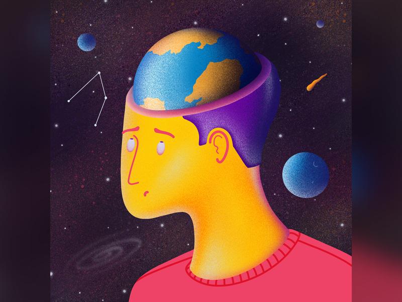 Planet Head mind head space earth planet universe sky human apple pencil procreate ipad pro illustration