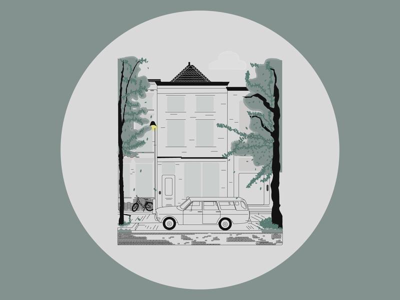 House car tree nature design vector illustration